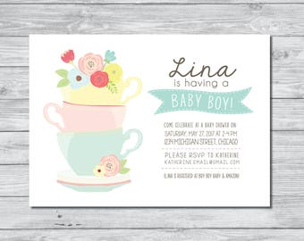 Tea Party Baby Shower Invitation, Baby Shower Invitation, Tea Party Invitation, Custom Invitation