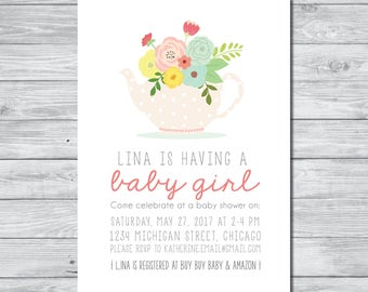 Tea Party Baby Shower Invitation, Tea Party Baby Shower, Tea Party Inviation, Custom Invitation, Digital invitation