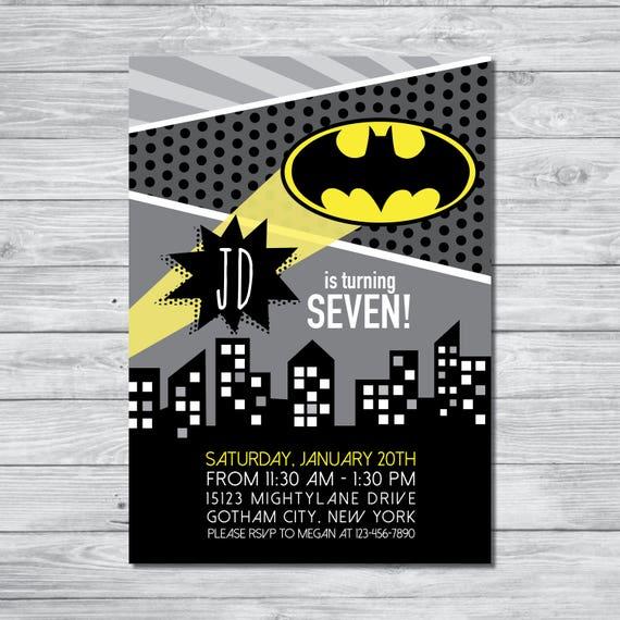 Batman invitation batman birthday invitation boys birthday etsy image 0 filmwisefo
