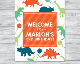 Personalized Dinosaur Birthday Sign | Dinosaur Welcome Sign | Dinosaur Party Decoration | Dinosaur Decor