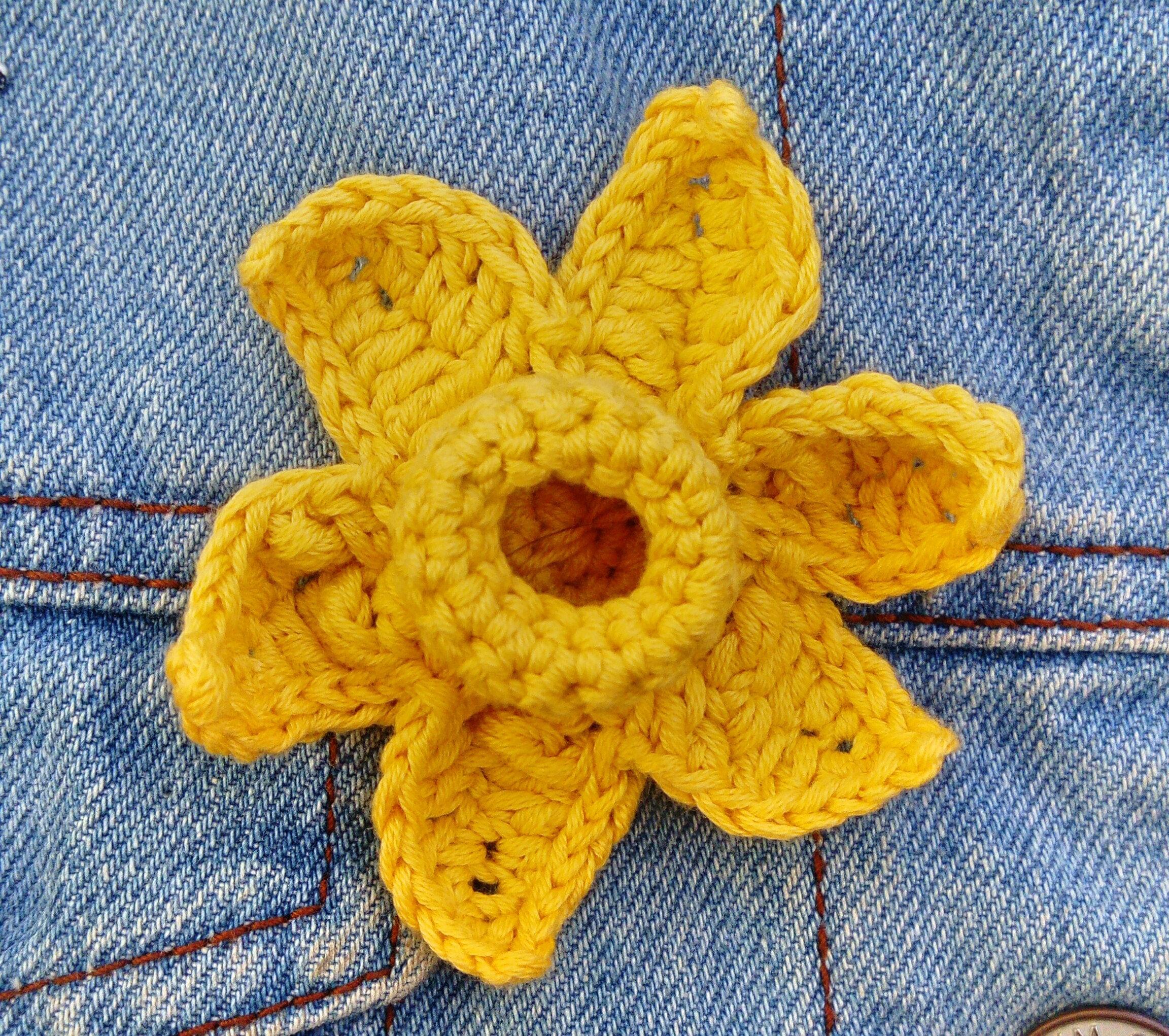 Daffodil Crochet Pin Badge Brooch Yellow Crochet Daffodil Etsy