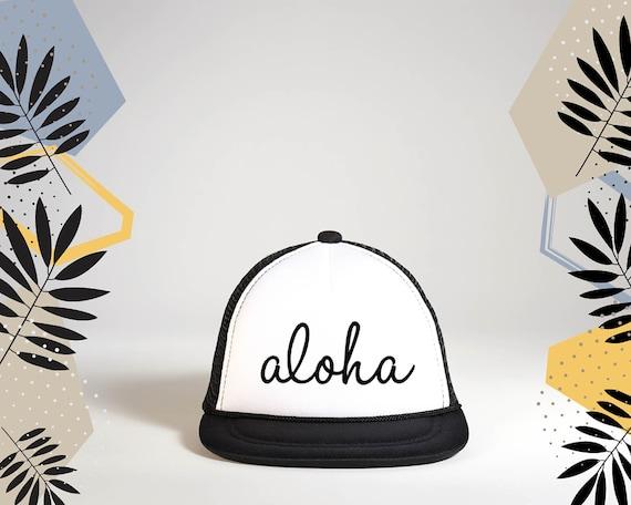 ALOHA CURSIVE Trucker Hat Aloha Snapback Hat Aloha Baby  33aeef08e255