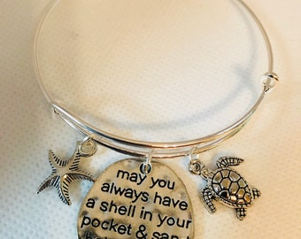 Bracelet bangle turtle silver may you always have a shell in your pocket and sand between your toes