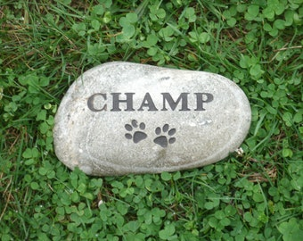 """Custom carved river rock pet memorial stone 5"""""""