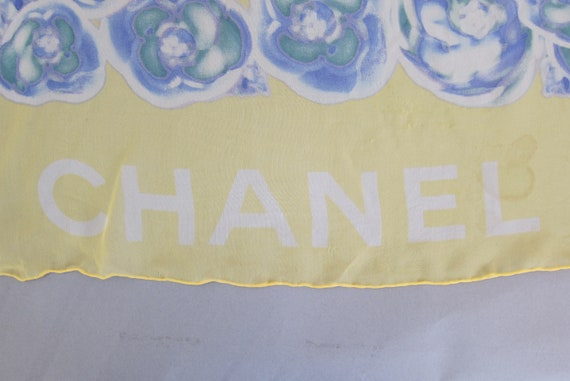 Chanel Sheer Yellow Scarf with BlueFloral Print Fr