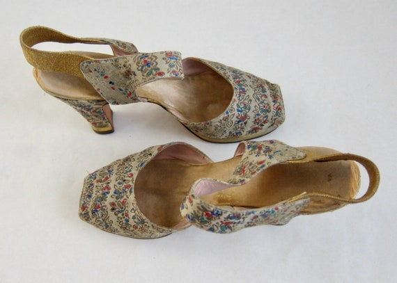 Brocade Peeptoe 40s Evening Shoes Vintage 1940s G… - image 4