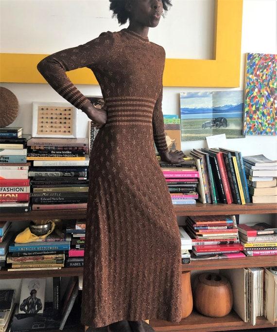Vintage 1970s Jersey Maxi Dress   Brown Copper Gol