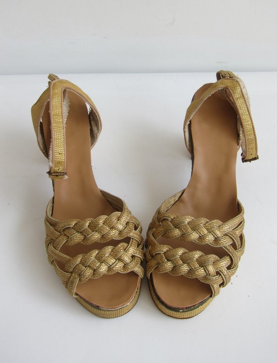 Vintage 1940's Gold Lame Sandals 30s Gold woven He