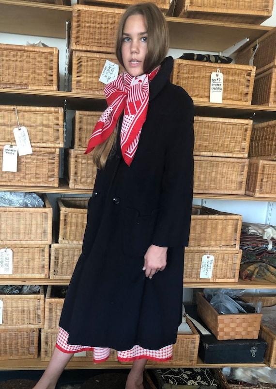 1960s Mainbocher Black Cashmere Coat, 60s Mainboch