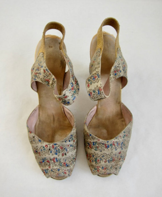 Brocade Peeptoe 40s Evening Shoes Vintage 1940s G… - image 7