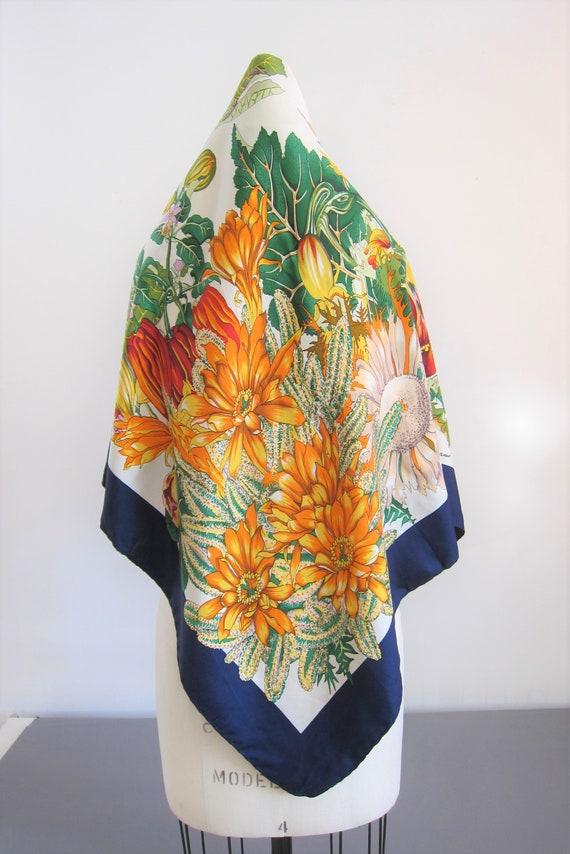 Ferragamo Silk Scarf Vintage 80s with Colorful Flo