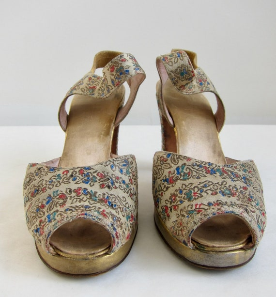 Brocade Peeptoe 40s Evening Shoes Vintage 1940s G… - image 3