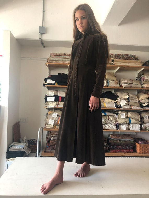 1960s Ossie Clark Quorum Velvet Coat Brown 60s Oss