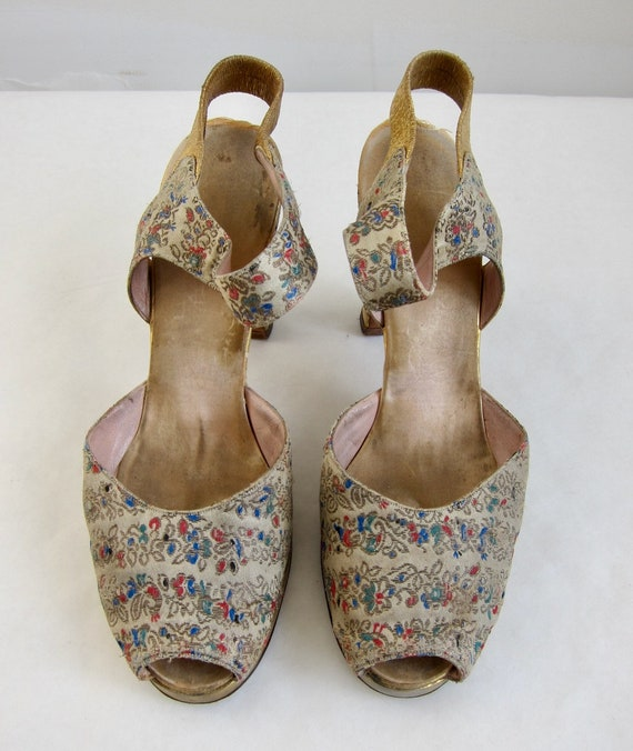 Brocade Peeptoe 40s Evening Shoes Vintage 1940s G… - image 2