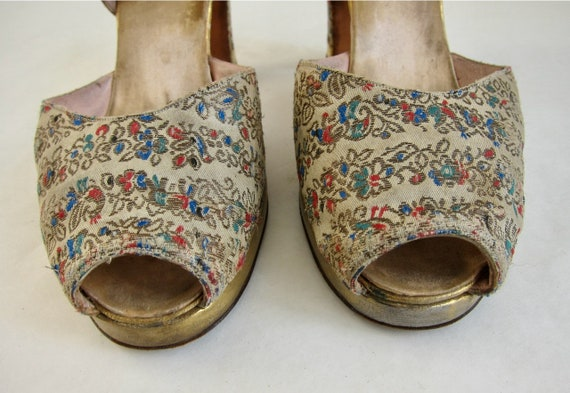 Brocade Peeptoe 40s Evening Shoes Vintage 1940s G… - image 6