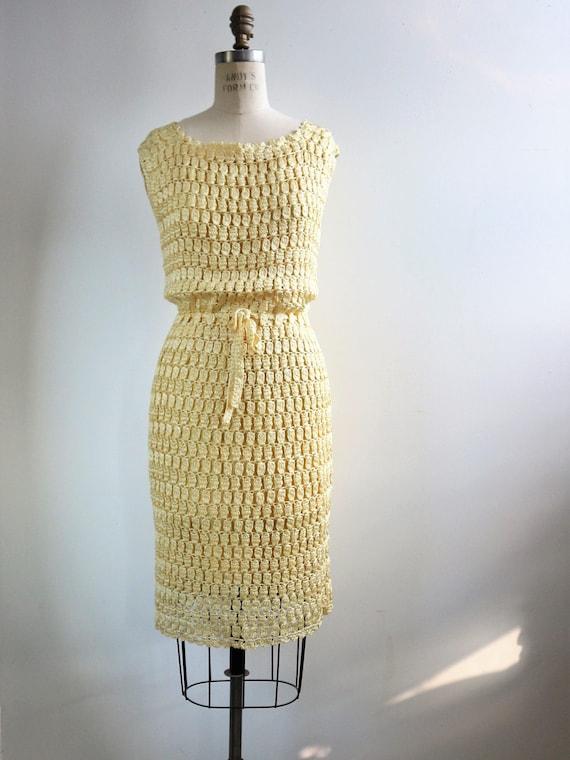 1960s Crochet Dress | 60s Crochet Raffia Dress |