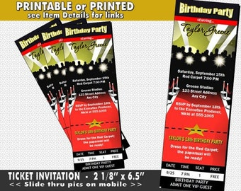 Red Carpet Paparazzi Ticket Invitation Printable With Printed Option Birthday Party Hollywood Theme Invites For Event