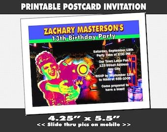 Laser Tag Party Invitation Printable Boy Birthday Game Invites Child