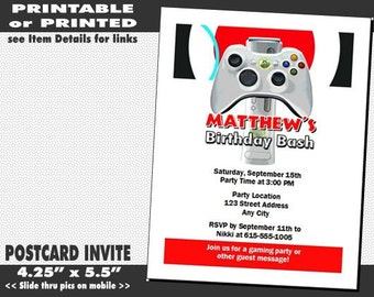 XBox Video Game Birthday Party Invitation Printable With Printed Option Truck Invites Boy 1500 FREE Shipping