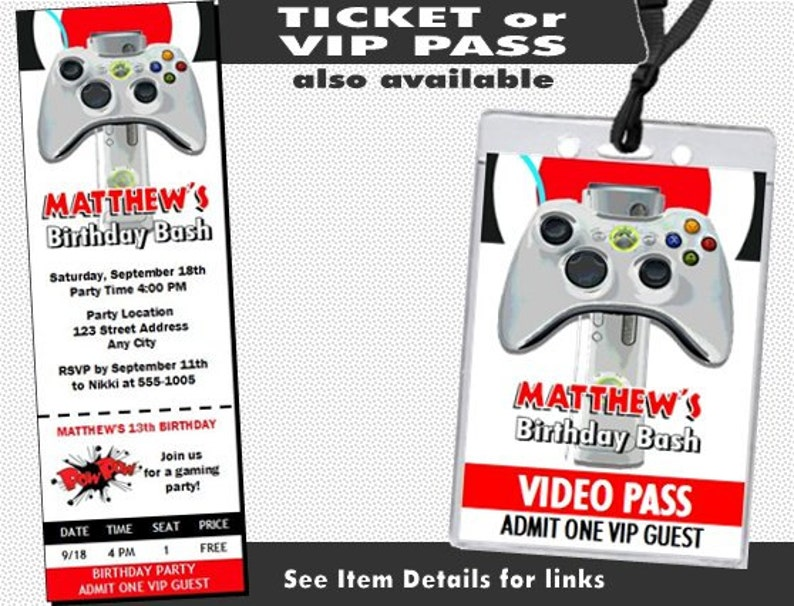 XBox Video Game Birthday Party Invitation Printable With