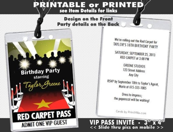 Red Carpet Paparazzi Vip Pass Birthday Party Invitations Etsy
