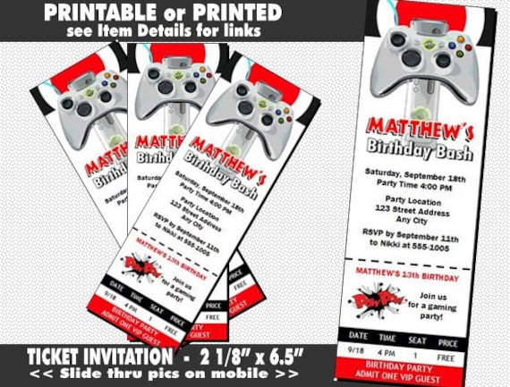 XBox Video Game Ticket Invitation Printable With Printed
