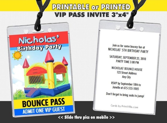 bounce house vip pass birthday party invitations printable etsy