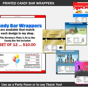 Wedding Candy Bar Wrappers Chocolate Bars Favors Damask Etsy