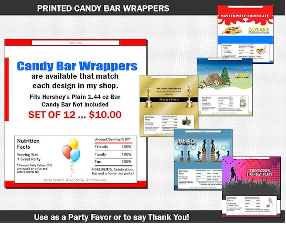 Candy Bar Wrappers To Match Any Printvillainvites Invitation Etsy