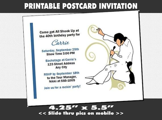 Elvis Inspired Party Invitation Printable Birthday