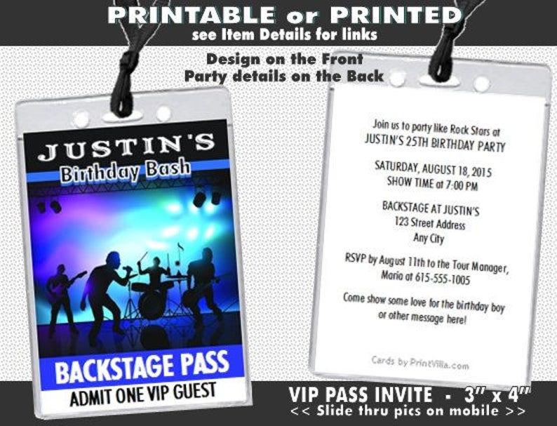 Rock Band Backstage VIP Pass Invitation, Printable, Musician Birthday  Party, Music Concert Theme