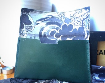 """Marine Green leather clutch purse with Japanese """"Blueberry"""" kimono fabric lining and Obi-style handle"""