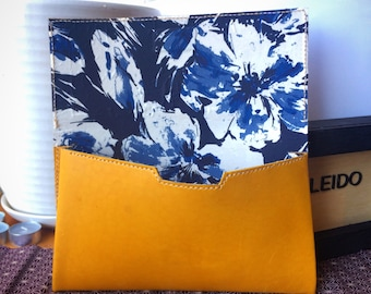 """Mustard Yellow leather clutch purse with Japanese """"Blueberry"""" kimono fabric lining"""
