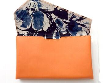 "Salmon orange leather clutch purse with Japanese ""Blueberry"" pattern kimono fabric lining"