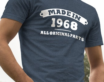 Made in 1968 All Original Parts 50th Birthday Gift Navy Shirt
