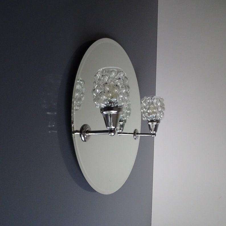 Vintage Round Mirror MidCentury Bubble Glass Sconces Vintage 8ER4Y7V0