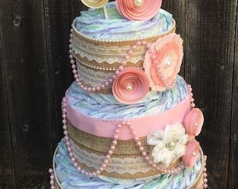 Shabby Diaper Cake-Burlap Diaper Cake-Diaper Cake-Elegant Diaper Cake-Chic Diaper Cake-Girl Diaper Cake-Baby Shower Centerpiece