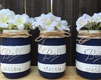 Nautical Mason Jars- Distressed Mason Jars-Nautical Baby Shower-Nautical Home Decor- White and Navy Blue Stripes Mason Jars-Nautical Wedding
