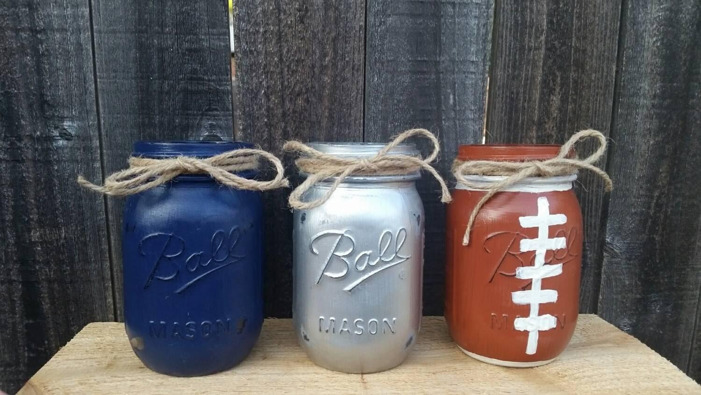Distressed Mason Jars Dallas Cowboys Decor Football Mason Etsy