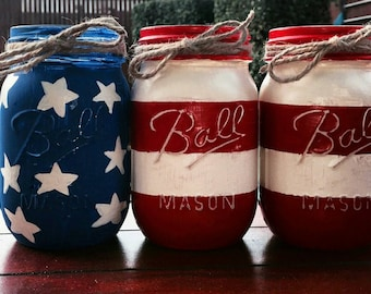 4th of July, American Flag Decor, Mason Jars, 4th of July Decor,  Set of 3, Labor Day Red White and Blue, American Flag Mason Jars, July 4th