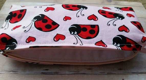 Lady Bug Ladybug Insect Pencil Pen Organizer Zipper Pouch Case