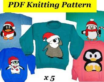 """5 x Childrens & Adults Christmas Penguin Jumper / Sweater Knitting Patterns   PDF Instant Download Xmas 24 - 40"""" Chest"""