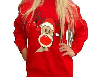"""Childrens & Adults Christmas Rudolph Reindeer Jumper / Sweater Knitting Pattern #15  PDF Instant Download 24 - 40"""" Chest"""