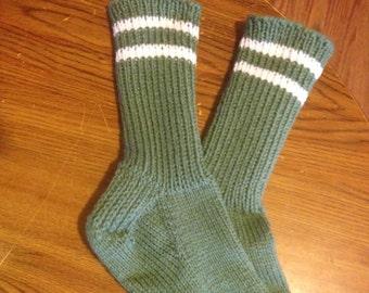 Hand Knit Heavy Winter socks, Men's size 8 - 10