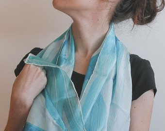 Lilac and blue Silk Scarf - soft shades in white and baby blue