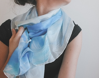 "Hand painted silk shawl, ""forget me not"" blue"