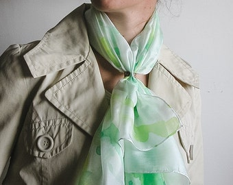 Silk square scarf hand painted in white and green, gift for her
