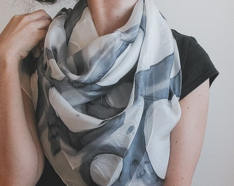 Hand Painted Silk square shawl in gray and white