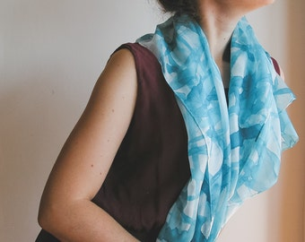 Turquoise Hand Painted Silk Scarf