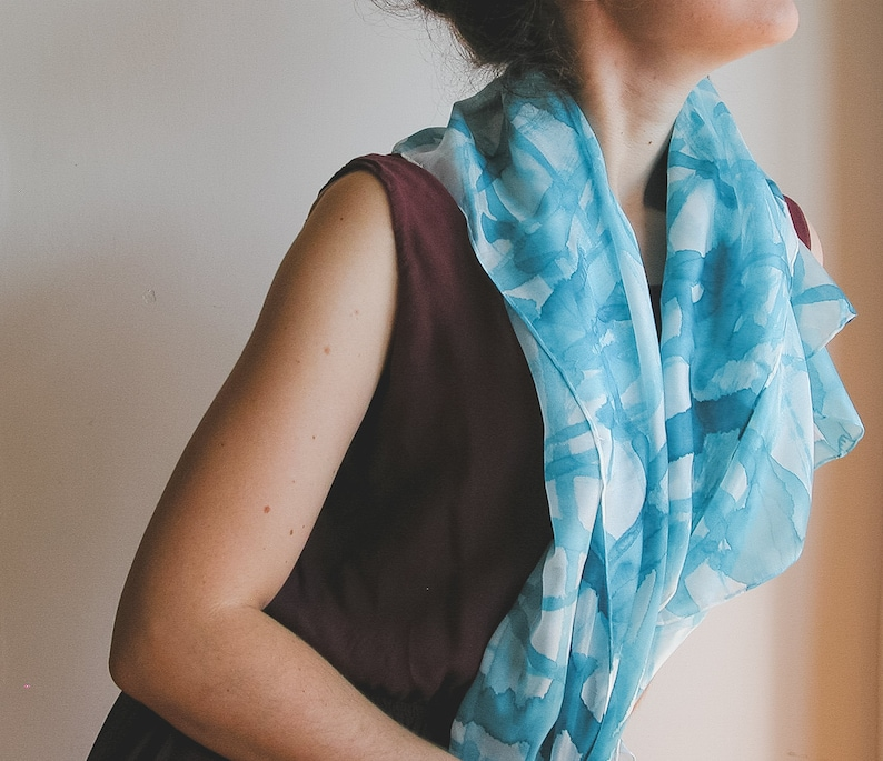 Turquoise Hand Painted Silk Scarf image 0